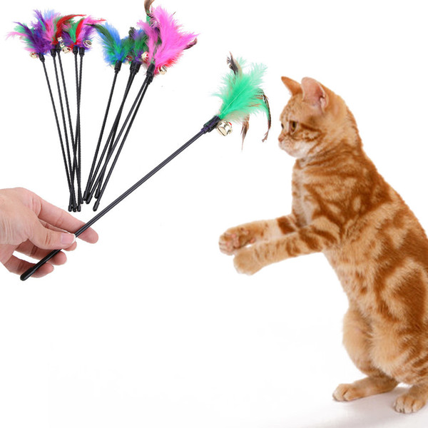 5pcs/lots Cat Teaser Colorful Feather Stick Toys For Cat Kitten Pet Turkey Interactive Wire Chaser Cat Training Pet Supplies