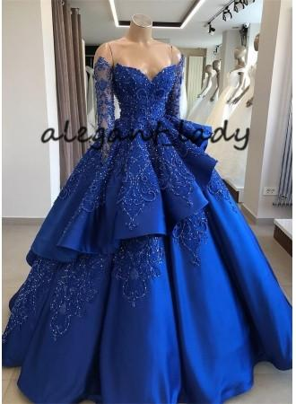 Gorgeous Royal Blue Lace Ruffled Evening 16 Party Debutantes Gowns 2019 Sparkly Beaded Long Sleeve Ball Gown Quinceanera Dresses