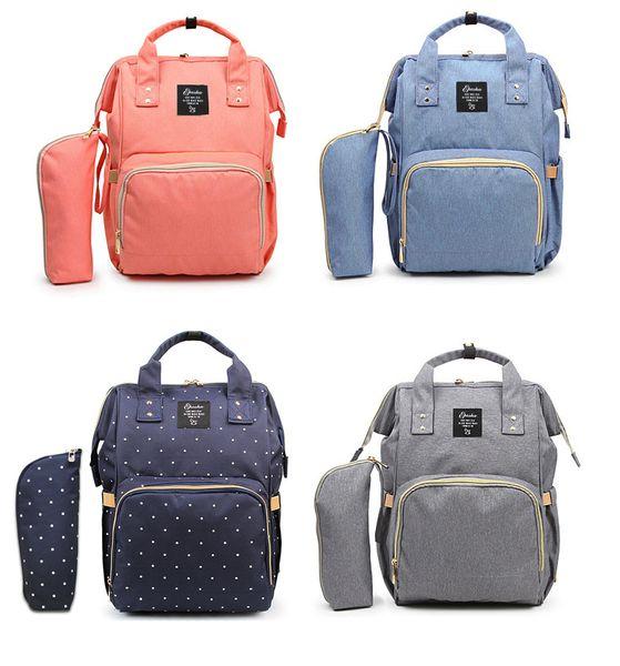 Wholesale Baby Diaper Bag Large Capacity Nappy Bag Waterproof Mommy Travel Nursing Backpack & Wristlet Bag 9 colors