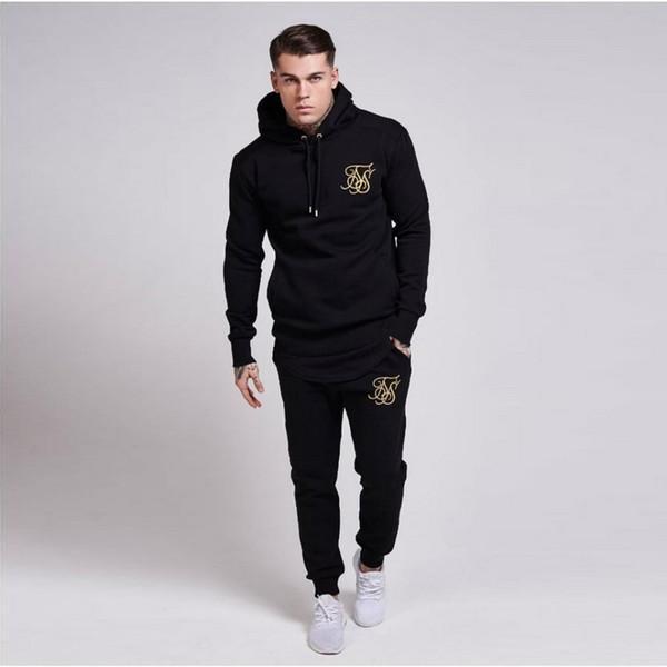 New Gyms Trainingsanzug Männer Hosen Sets Fashion Sweatshirt Trainingsanzüge Marke Sik Silk Stickerei Casual Fitness Outwear Jogger