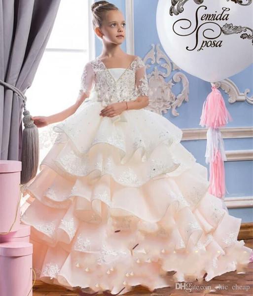 Dentelle Transparent Une Ligne Fée Princesse Pageant Fleur Fille Robe Enfants Anniversaire Perles De Mariage Robe De Demoiselle D'honneur Appliques Dos Nu