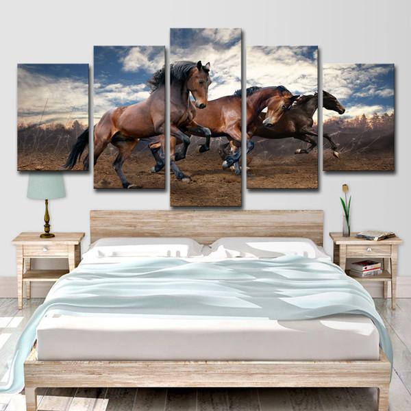 HD Impreso 5 Unidades Arte de la Lona Galopando Caballos Negros Salvajes Pintura de Pared Cuadros para la Sala de estar Decoración Envío Gratis