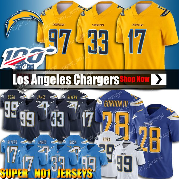 17 Philip Rivers Fußballjerseys 33 Derwin James Jersey Los Angeles Chargers Jersey 28 Melvin Gordon Trikots 99 Joey Bosa Jersey