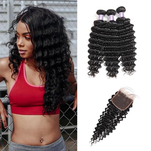 Tramas brasileñas para el cabello Onda profunda 3 piezas con cierre de encaje 4 * 4 Paquetes de cabello humano peruano con cierre Extensiones de cabello indio Negro azabache
