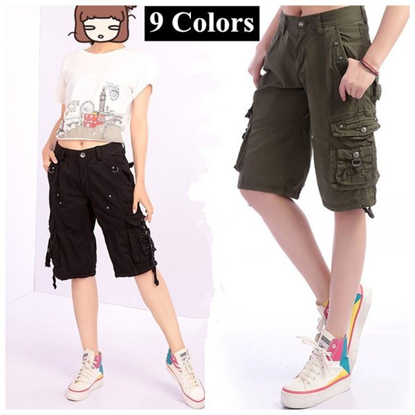 Summer Outdoor Sports Big Size Baggy Shorts Straight Hiking Knee Length Short Trouser Women's Multi Pocket Overalls Cargo Shorts