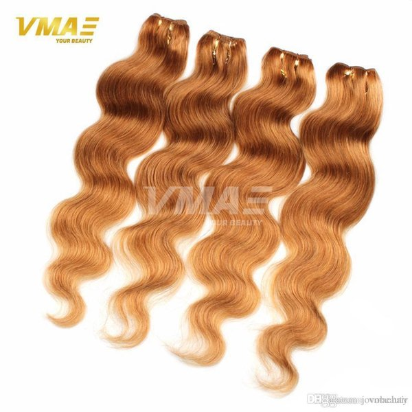 Honey Blonde Brazilian Hair Weave Bundles Color 27# Brazilian Body Wave Human Hair Brazilian Virgin Hair Blonde No Shed Hot Sale