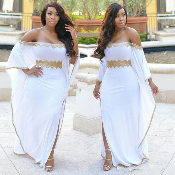 Stylish White Split Side Plus Size Caftan Prom Dresses Gold Beaded Off The Shoulder Evening Gowns Cheap Floor Length Chiffon Formal Dress