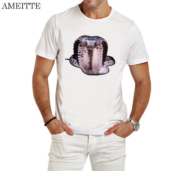 Hombres de moda de verano de manga corta divertido Terror Cobra Imprimir camiseta Cool Naja diseño de bolsillo blanco Casual Tops Ameitte Punk Boy Tees