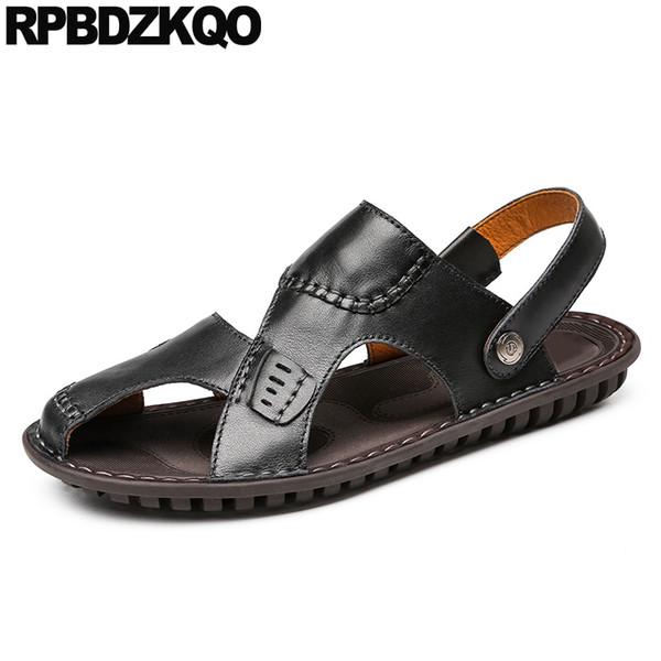 braun 2019 designer outdoor casual weiche schwarze männer sandalen leder sommer schuhe berühmte marke flache landebahn strand geschlossen zehe echt