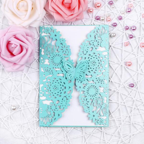 Tiffanyland Butterfly Invitation Card Set Invito Tasca Busta Carte interne Pieghevoli Solido Elegante Forniture per feste di nozze