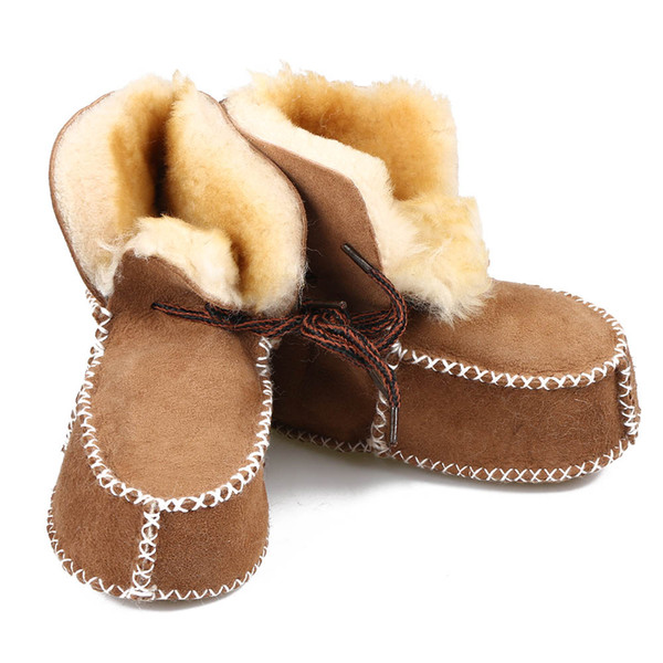 1Pair New Winter Baby Shoes Boots Infants Warm Shoes Fur Wool Girls Baby Booties Sheepskin Genuine Leather Boy Boots