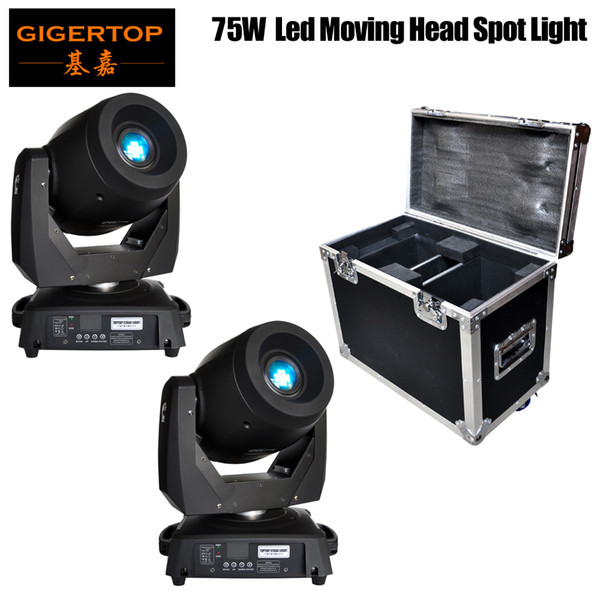 best selling Freeshipping flight case 2in1 packing with 2 units 75W led moving head light DMX512 control led stage moving head gobo lighting 15 19 CH