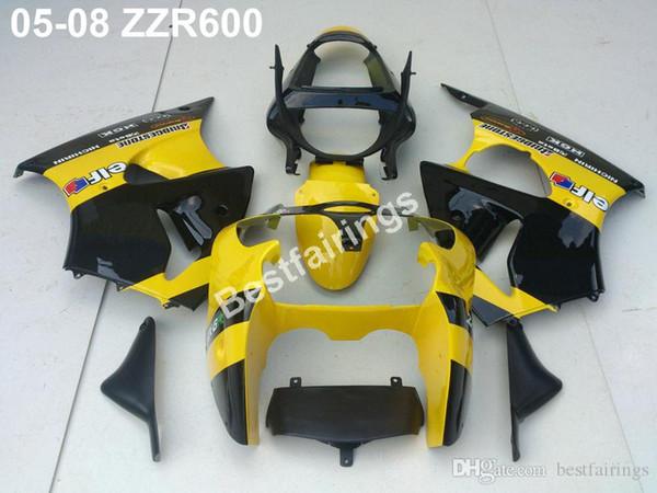 Injection plastic fairing kit for Kawasaki ZZR600 05 06 07 08 yellow black fairings set ZZR 600 2005-2008 ZV30