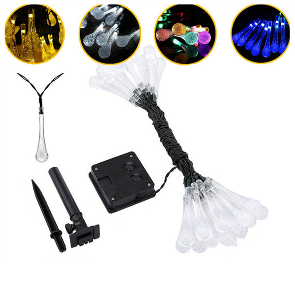 Solar Powered LED String Lights 30 Ampoules Waterproof Water Drop String Camping Éclairage Extérieur Garden Party 8 Modes 6.5m MMA2150