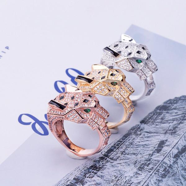 Diseñador Anillos de Moda de Lujo Ojos Verdes CZ Diamantes Anillo de Oro Rosa de Plata Anillos de Boda Alta Calidad Joyería Fina Parejas Regalos