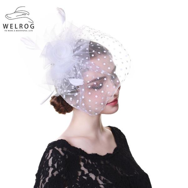 WELROG White Wedding Bride Veil Hair Clip Handmade Mesh Hairgrip Fascinator Hat Elegant Women Floral Net Face Hat Female