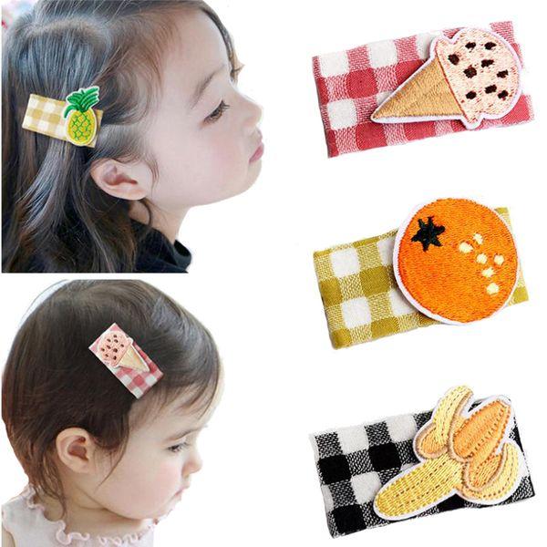 Fashion Children Plaid Hair Accessories Cartoon Hair Clips Fruit Hairpins Kids Pineapple Banana Barrette Hairclips For Girls