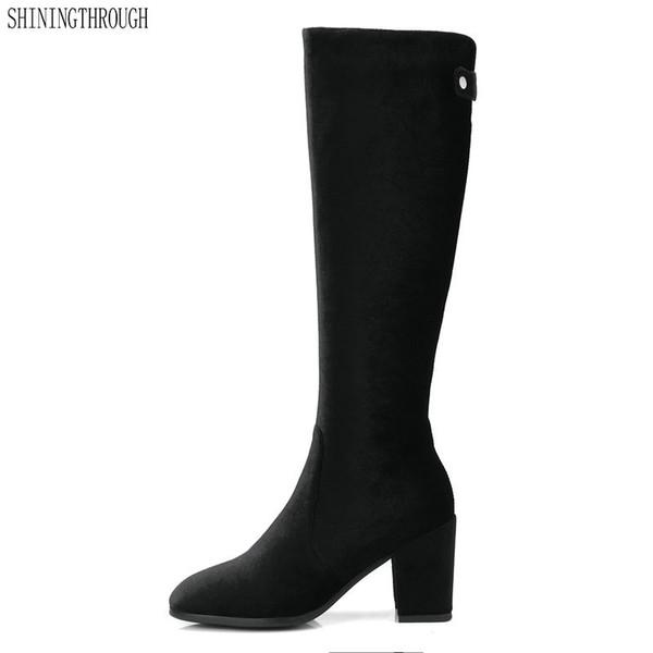 Elagent Rodilla Botas altas para mujer Tacones altos Botas occidentales punta cuadrada Primavera otoño Botas Boda fiesta de mujer Zapatos tamaño 41 42 43