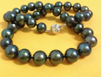 """24""""10-11mm natural real round freshwater black pearl necklace 925silver goldfghjd"""