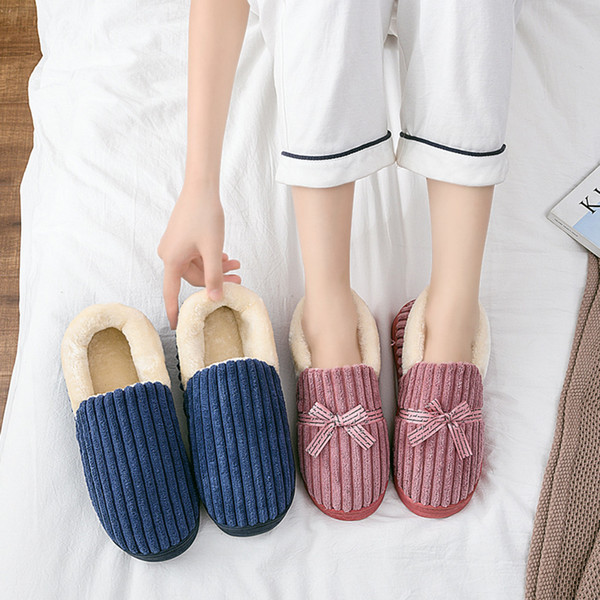 SAGACE Women's Mens Home Slippers Couples Warm Butterfly Knot Floor Home Slippers Loafer Indoor Shoes Indoor For Guests d01