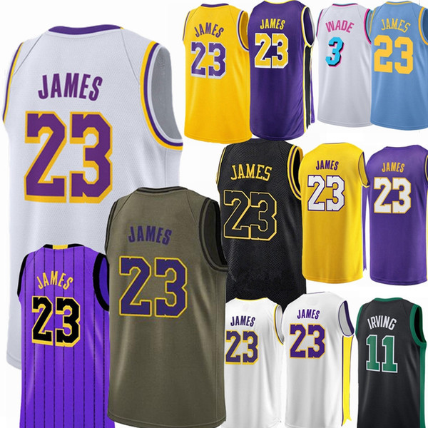 competitive price dff4e 77b97 2018 Los Angeles Lakers Jersey 23 LeBron James 77 DONCIC 3 Dwyane Wade 11  Kyrie Irving Men City Basketball Jerseys From Suyanjersey, $25.72 | ...