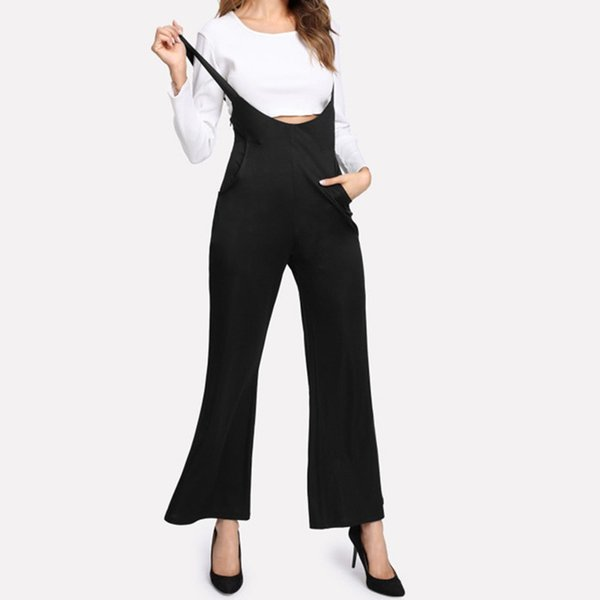 High Waist Women Wide Leg Jumpsuit 2019 Black Solid Low Cut Ropmers Women Overall Bodysuits Hot Sale