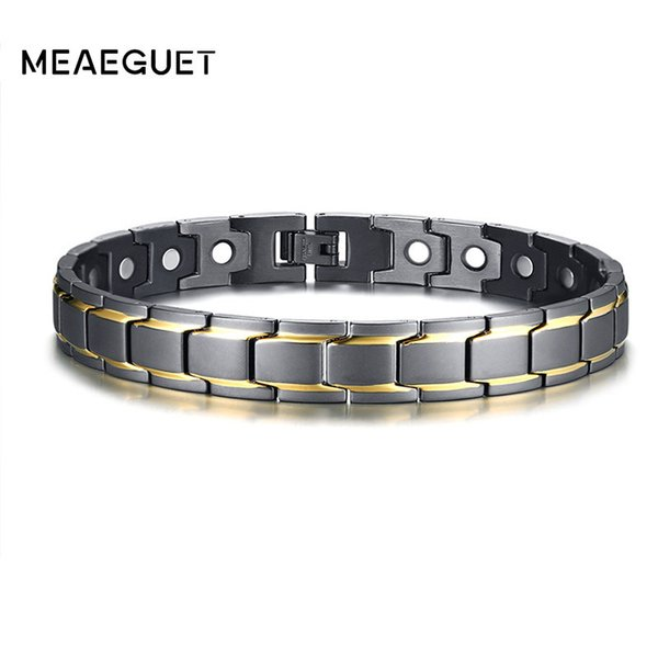 Fashion Ankle Men Bracelet Magnet Bio Energy Stainless Steel Adjustable Designer Medical Therapy Arthritis Male Leg Chains Gifts C19041101