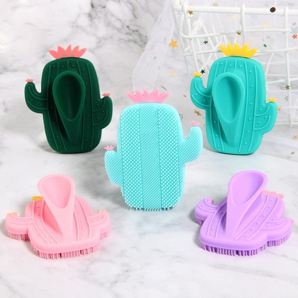 best selling Cactus Silicone Beauty Massage Washing Pad Facial Exfoliating Blackhead cute Face Brush Tool Soft Deep Cleaning Skin Care
