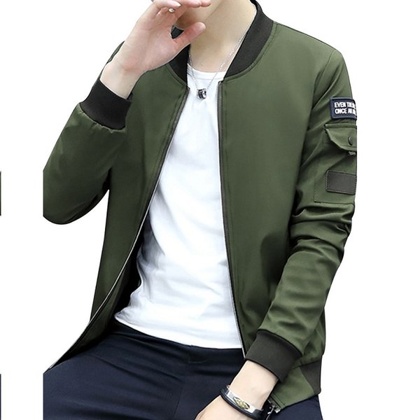 JESUN'S Men's Casual Jacket Simple Cool Light Stand Collar