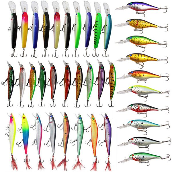Assorted Fishing Lures Set Crankbaits Hard Minnow Lure Tackle with Treble Hooks Saltwater Fishing Bait Lures