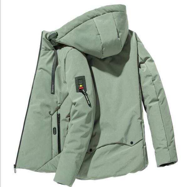 2019 M-7XL осень и зима мужская пуховик с капюшоном толстый сплошной цвет с карманом на молнии пуховик мужской дикий пуховик