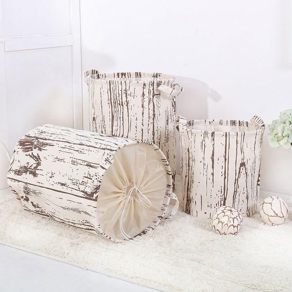 Holz Vertikale Muster Faltkorb Badezimmer Schmutzige Kleidung Wäschekorb Verdicktes Kind Spielzeug Kleinigkeiten Eimer