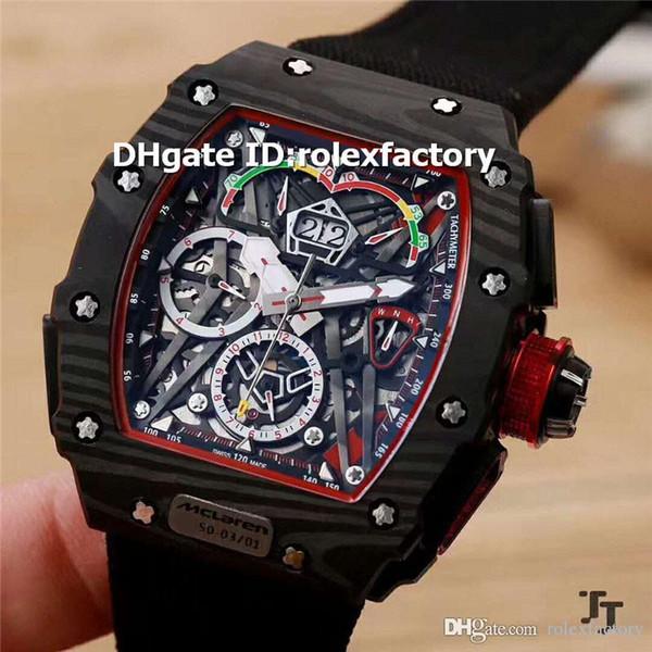 2019 novo luxo preto fibras de carbono mens watch 50-03 ultraleve - cinta de lona vermelha de safira automática mccaren f1 top qualidade esportes relógios
