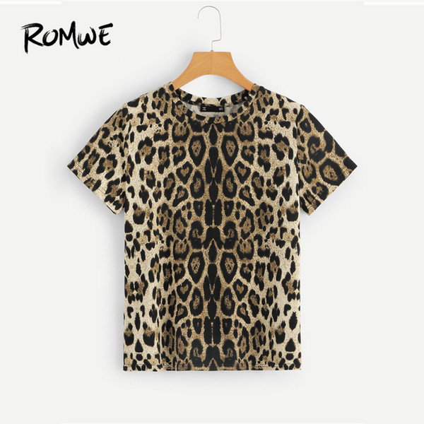 Leopard Print T-Shirt 2019 Stylish Young Women Round Neck Clothes T Shirt Glamorous Summer Short Sleeve Tee Tops