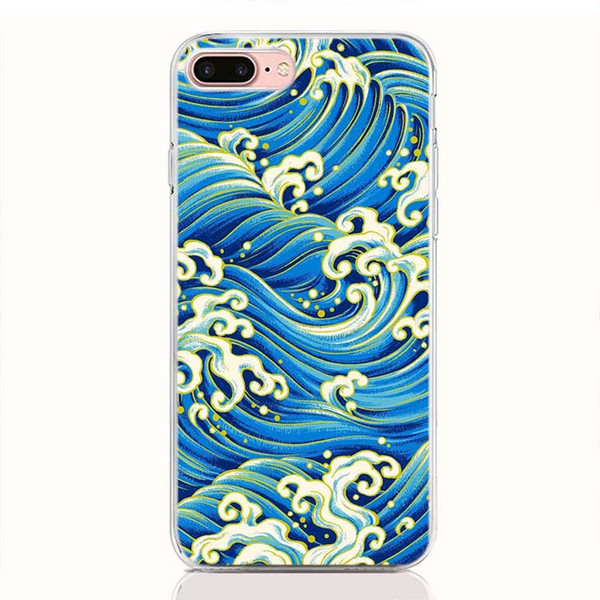 For One Plus 7 6T 6 5T 5 3 2 One X case soft TPU Print pattern Cartoon Wave Art Japanese High quality phone cases