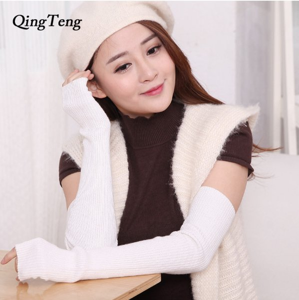 Long Gloves For Women Natural Without Fingers Winter Touch Screen Autumn Black White Female Mittens Phone Half Finger Warm Wool