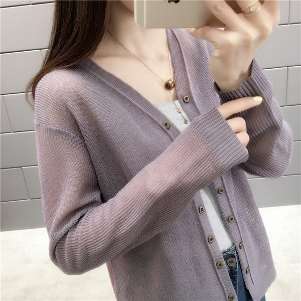 Outside sunscreen cardigan women short spring and summer thin ice silk sweater loose small shawl air conditioning shirt jacket