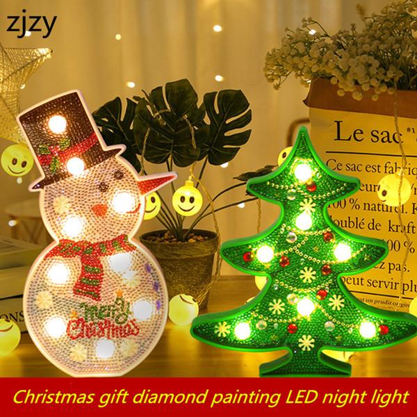 2019 Yeni DIY LED Elmas Boyama Gece Işığı Noel ağacı Kardan Adam 5D Çapraz Dikiş Nakış Özel Shape Ev Dekorasyon T191105