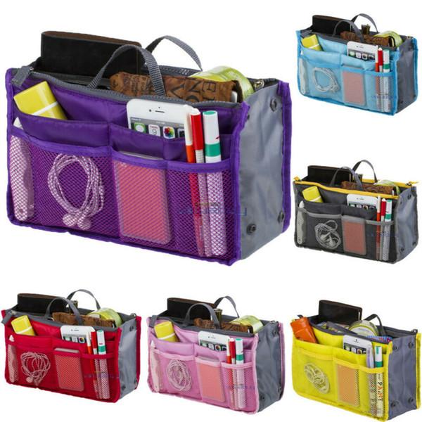 Mulher grandes Liner Organizador Cosméticos sacos de viagem Inserir Handbag Organizer Armazenamento Bolsa Feminino Makeup Bag