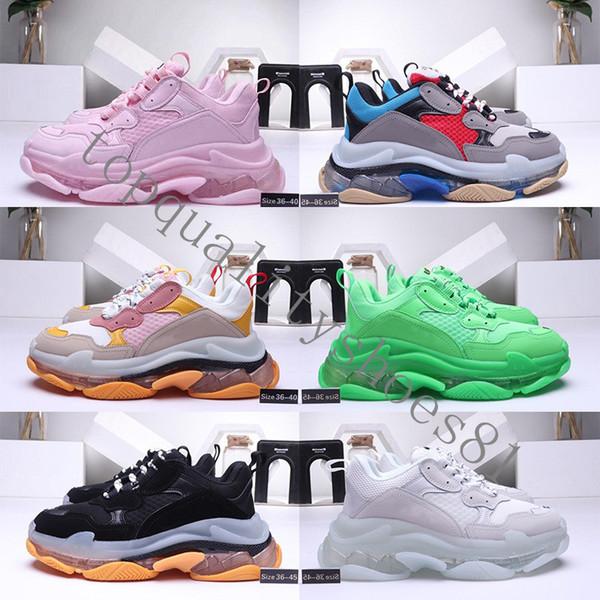 top popular 2021 Fashion Crystal Bottom Paris 17FW Triple S Mens Sneakers Vintage Dad Platform Men Women Casual Shoes Tripler Sports Trainers Clear sole 2021