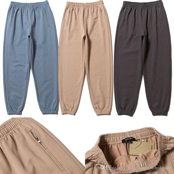 6. sezon Sweatpants Kadınlar Erkekler Streetwear 1s: 1 Kanye West Season6 Sweatpants Hip Hop İpli Sweatpants Sezon 6 Koşucular