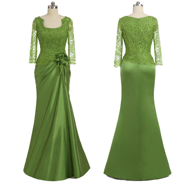 Long Mother Of Bride Dresses With Sleeves Lace Zipper 3D Flowers Beaded Sheath Evening Dresses Prom Gowns 2019