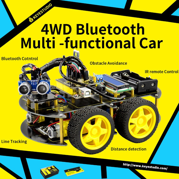 Keyestudio 4WD Bluetooth Robot multifunzione fai-da-te per Arduino Programmazione educazione robot + Manuale utente + PDF (online) + Video