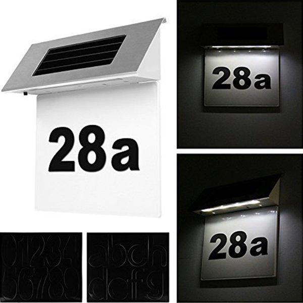 Номер дома Солнечная энергия светодиодная подсветка таблички