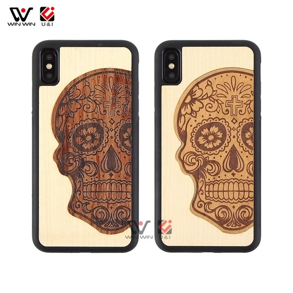 Fashion Skull Head Cool Style Natural Wood Mix Mobile Phone Case For iPhone 6 7 8 Plus X XR XS Max
