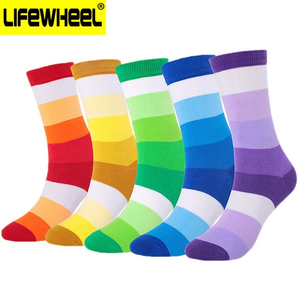 LifeWheel Men & Women Colorful Funky Cotton Striped Pattern Long Dress Crew Socks For Thick Autumn Winter Business Casual