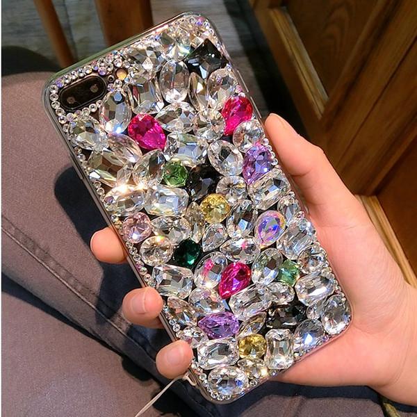 For Samsung Galaxy S3 S4 S5 S6 S7 Edge S8 S9 Plus Note 2 3 4 5 7 8 Neo G530 G850 Handmade Luxury Big Rhinestone Case Diamond