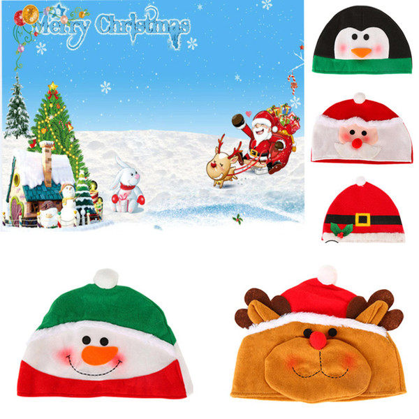 top popular Christmas Cartoon Adult Hat Plush Beanie Cap For Santa Clause Reindeer Snowman Xmas Decoration Party Hats Supplies HH9-2515 2021