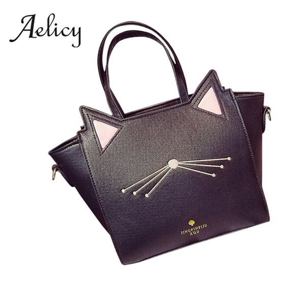 Aelicy Women Daily Use Bucket Bag Cute Cat Ear Handbag Ladies Fashion Leatherette Shopping Bag Shoulder Large Capacity