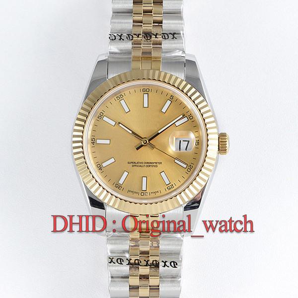 İsviçre ETA 2836 Mekanik Otomatik Hareketi İzle Tarihi Sadece 41 MM Safir Otomatik Tarih Altın Dial Lüks Erkek Saatler 126334 montre de luxe